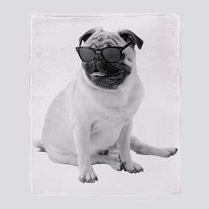 The Shady Pug Throw Blanket